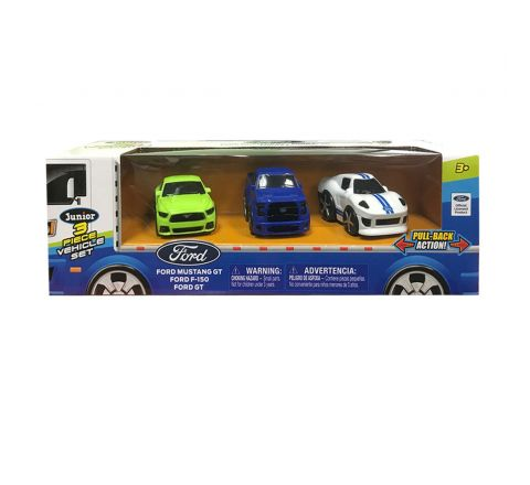 "Ford 2.75"" Pull Back 3 Vehicle Hauler Set"