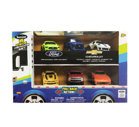 "Ford And Chevrolet 2.75"" Pull Back 6 Vehicle Hauler Set"