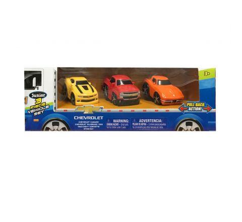 "Chevrolet 2.75"" Pull Back 3 Vehicle Hauler Set"